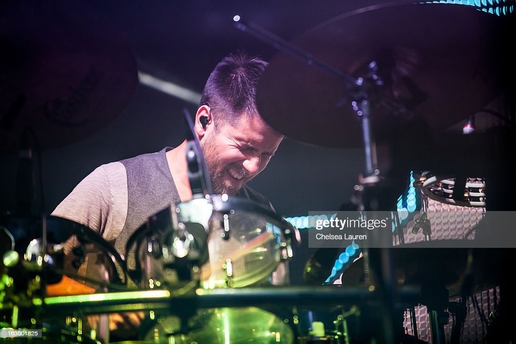 Drummer Zach Velmer of Sound Tribe Sector 9 performs at Hollywood Palladium on March 2, 2013 in Hollywood, California.