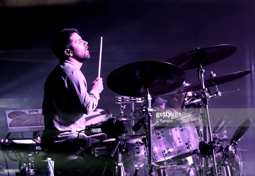 Drummer Zach Velmer of <a gi-track='captionPersonalityLinkClicked' href=/galleries/search?phrase=Sound+Tribe+Sector+9&family=editorial&specificpeople=5537227 ng-click='$event.stopPropagation()'>Sound Tribe Sector 9</a> (STS9) performs at The Fox Theatre on March 1, 2013 in Oakland, California.
