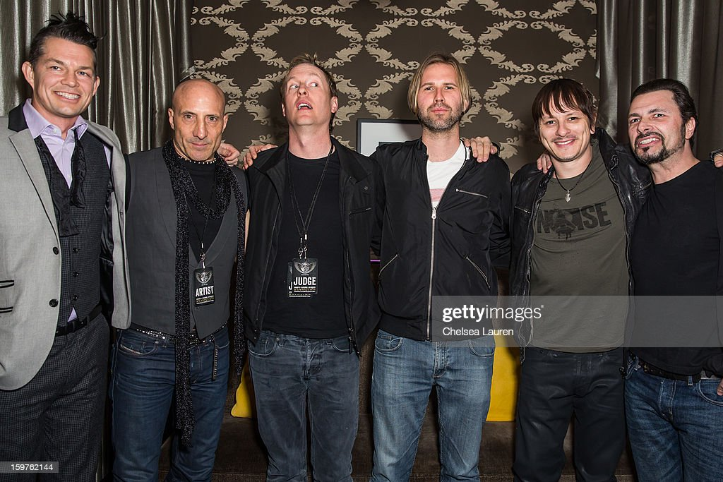 Drummers <a gi-track='captionPersonalityLinkClicked' href=/galleries/search?phrase=Adrian+Young+-+Drummer&family=editorial&specificpeople=213613 ng-click='$event.stopPropagation()'>Adrian Young</a>, Kenny Aronoff, Josh Freese, Brooks Wackerman, Ray Luzier and John Tempesta pose backstage at Guitar Center's 'Drumm Off' grand final at Club Nokia on January 19, 2013 in Los Angeles, California.