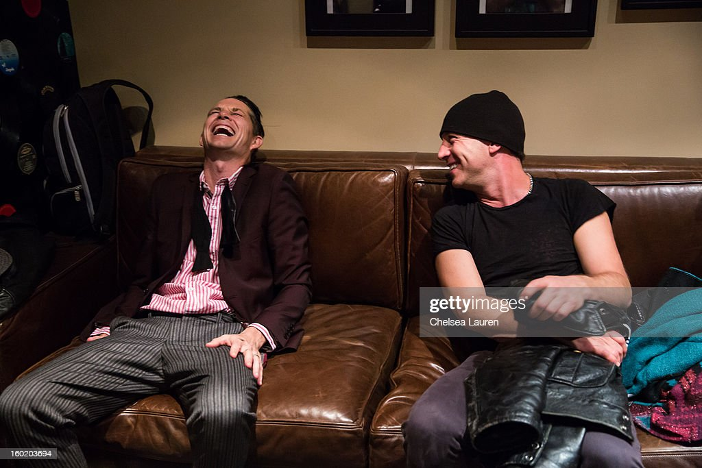 Drummers Adrian Young of No Doubt (L) and Stephen Perkins of Jane's Addiction backstage at Street Drum Corps' 'Lost Vegas' show at Hard Rock Hotel and Casino on January 26, 2013 in Las Vegas, Nevada.