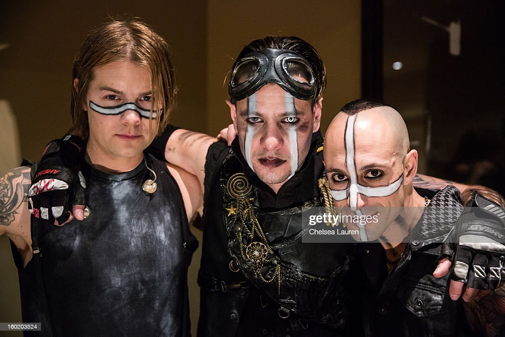 Drummers Bobby Alt, Adam Alt and Frank Zummo pose backstage at Street Drum Corps' 'Lost Vegas' show at Hard Rock Hotel and Casino on January 26, 2013 in Las Vegas, Nevada.