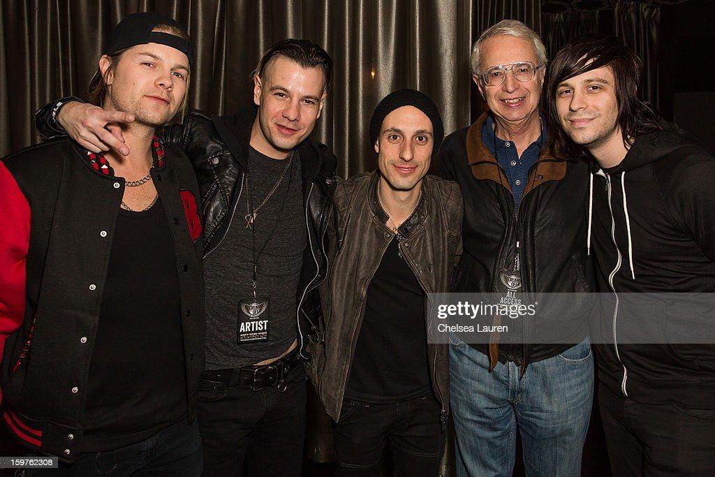 Drummers Bobby Alt, Adam Alt, Frank Zummo, DW founder Don Lombardi and drummer Ryan Seaman pose backstage at Guitar Center's 'Drum Off' grand final at Club Nokia on January 19, 2013 in Los Angeles, California.