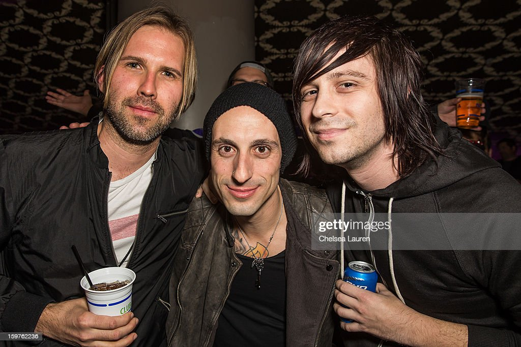 Drummers Brooks Wackerman, Frank Zummo and Ryan Seaman pose backstage at Guitar Center's 'Drum Off' grand final at Club Nokia on January 19, 2013 in Los Angeles, California.