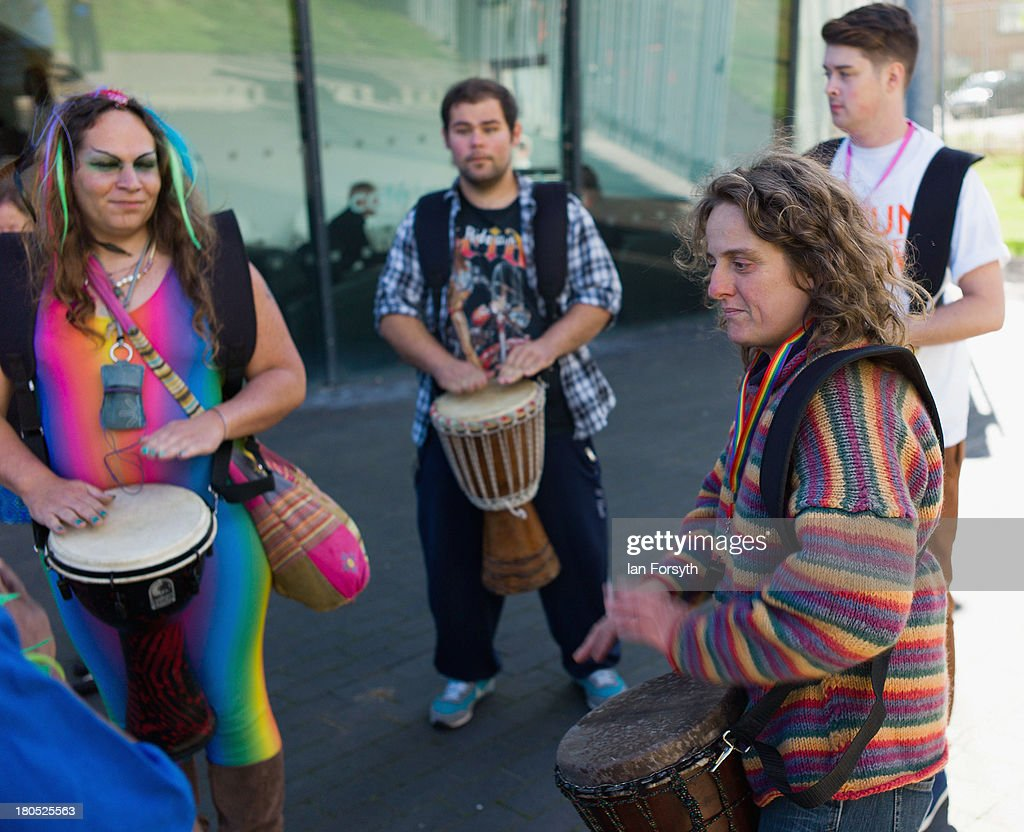 Drummers entertain the marchers as they get ready to take part in a parade during a Community Pride event on September 14, 2013 in Middlesbrough, England. The parade was the culmination of a three day event to raise awareness and celebrate Lesbian, Gay, Bi-sexual and Transgender life.