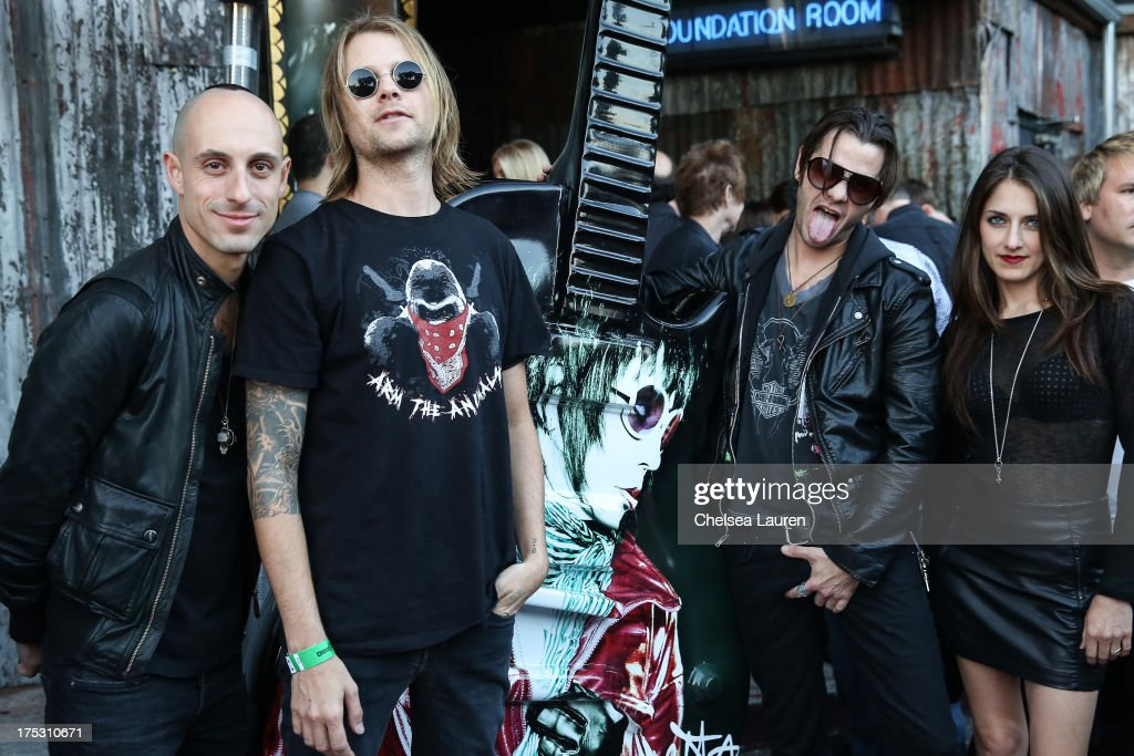 Drummers Frank Zummo, Bobby Alt, Adam Alt and singer Lauren Baird of Street Drum Corps arrive at the 6th annual Sunset Strip Music Festival launch party honoring Joan Jett at House of Blues Sunset Strip on August 1, 2013 in West Hollywood, California.