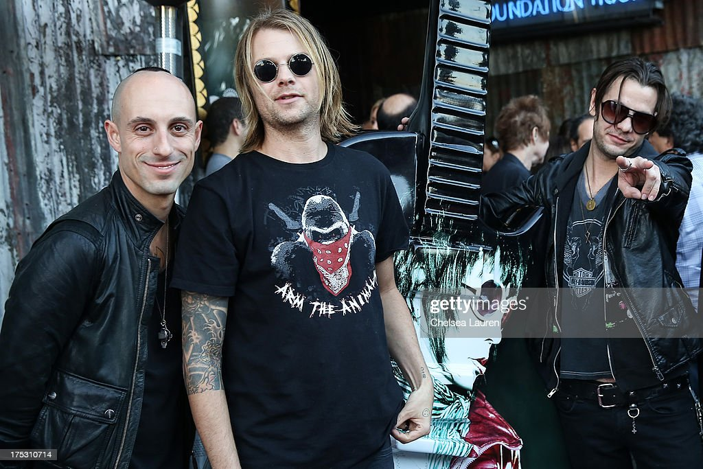 Drummers Frank Zummo, Bobby Alt and Adam Alt of Street Drum Corps arrive at the 6th annual Sunset Strip Music Festival launch party honoring Joan Jett at House of Blues Sunset Strip on August 1, 2013 in West Hollywood, California.