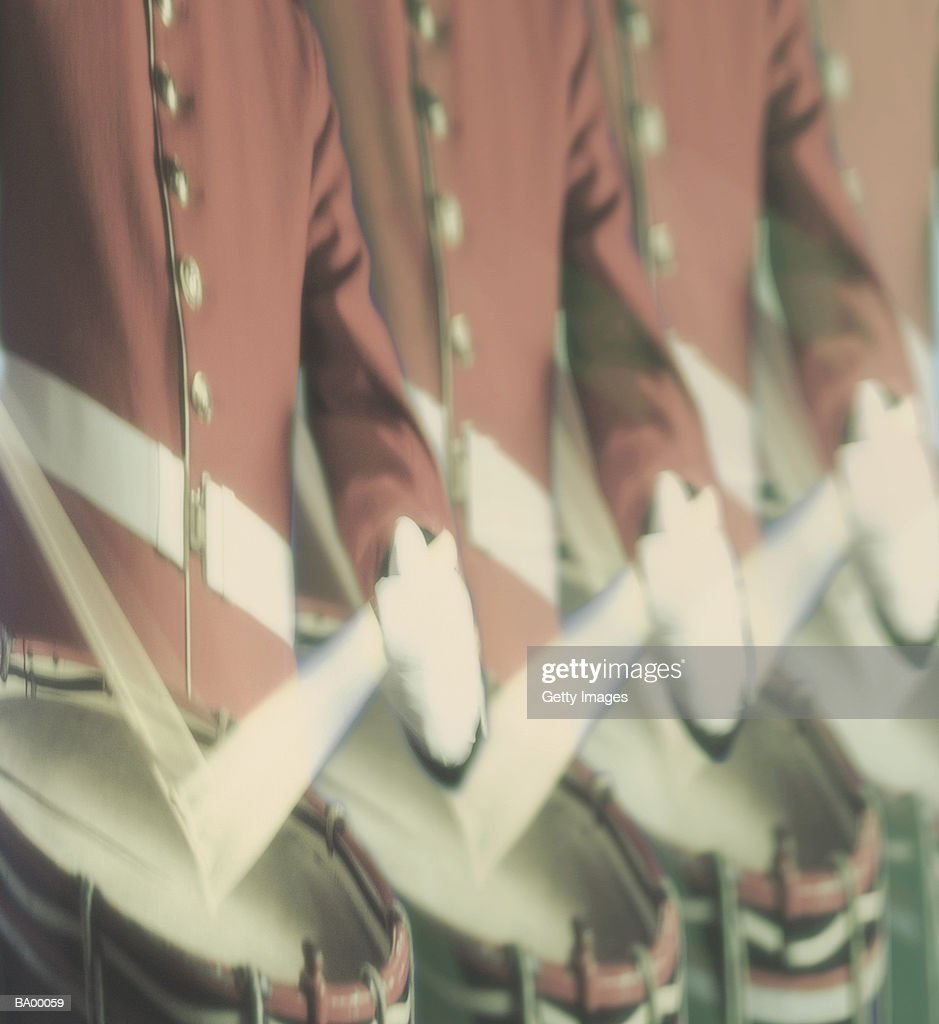 Drummers in marching band, close-up : Stock Photo