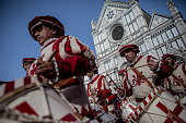 Drummers in traditional dress march before the final match of The Calcio Storico Fiorentino between the Santo Spirito Bianchi Team and the La Santa...