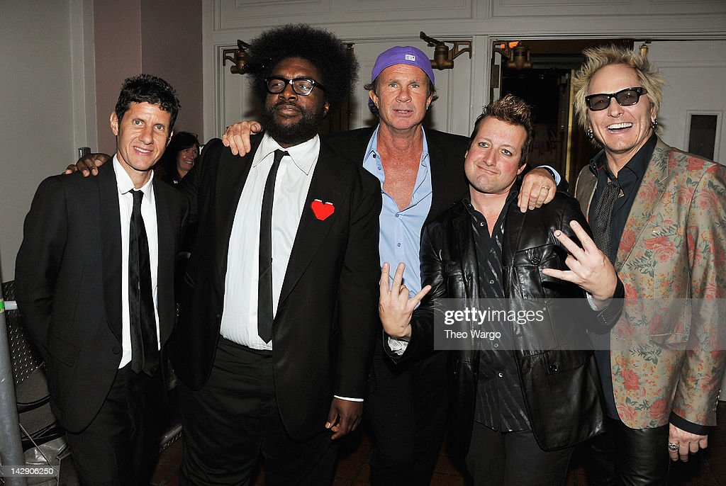 Drummers <a gi-track='captionPersonalityLinkClicked' href=/galleries/search?phrase=Michael+Diamond&family=editorial&specificpeople=209295 ng-click='$event.stopPropagation()'>Michael Diamond</a> 'Mike D' of the Beastie Boys, <a gi-track='captionPersonalityLinkClicked' href=/galleries/search?phrase=Questlove&family=editorial&specificpeople=537550 ng-click='$event.stopPropagation()'>Questlove</a> of The Roots, <a gi-track='captionPersonalityLinkClicked' href=/galleries/search?phrase=Chad+Smith+-+Drummer&family=editorial&specificpeople=12809050 ng-click='$event.stopPropagation()'>Chad Smith</a> of the Red Hot Chili Peppers, Frank Wright 'Tre Cool of Green Day, and <a gi-track='captionPersonalityLinkClicked' href=/galleries/search?phrase=Matt+Sorum&family=editorial&specificpeople=213836 ng-click='$event.stopPropagation()'>Matt Sorum</a> of Guns N' Roses attend the 27th Annual Rock And Roll Hall Of Fame Induction Ceremony at Public Hall on April 14, 2012 in Cleveland, Ohio.