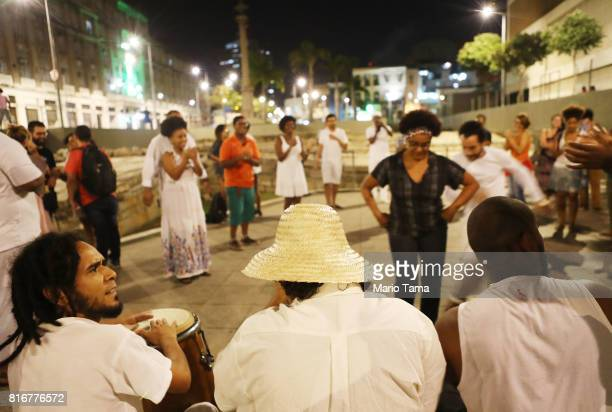 Drummers perform AfroBrazilian music at the Valongo slave wharf entry point in the Americas for nearly one million African slaves on July 17 2017 in...