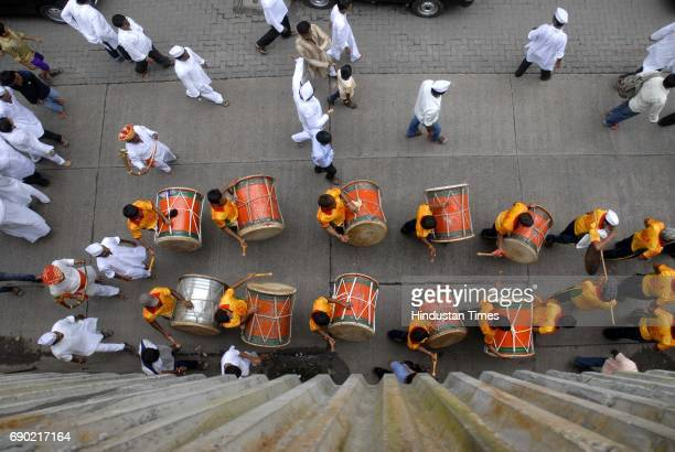 Drummers with Fortcha Raja in a procession from Lalbaug on Sunday ahead of Ganesh Chaturthi which falls on 1st September 2011