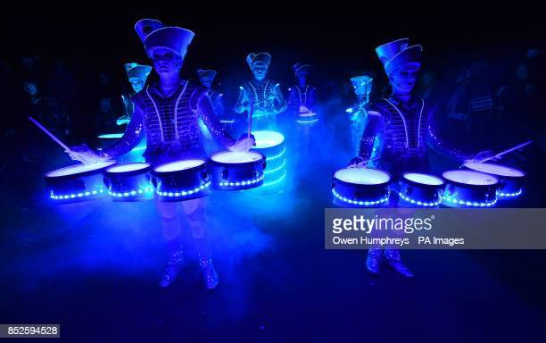 Drumming sensation Spark perform last night as part of the Shimmer 2013 digital arts festival on Whitley Bay seafront North Tyneside