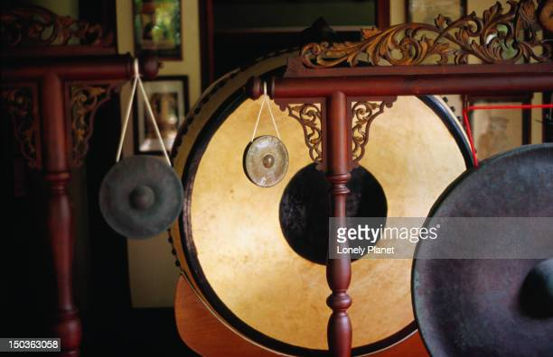 Drums and gongs on display at Khoun Museum at Lettuce Farm Palace, Ratchathewi.