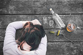 Addiction. After the party. Female alcoholism. Detrimental way.