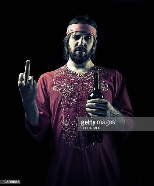 Betrunken guru, den nahen finger