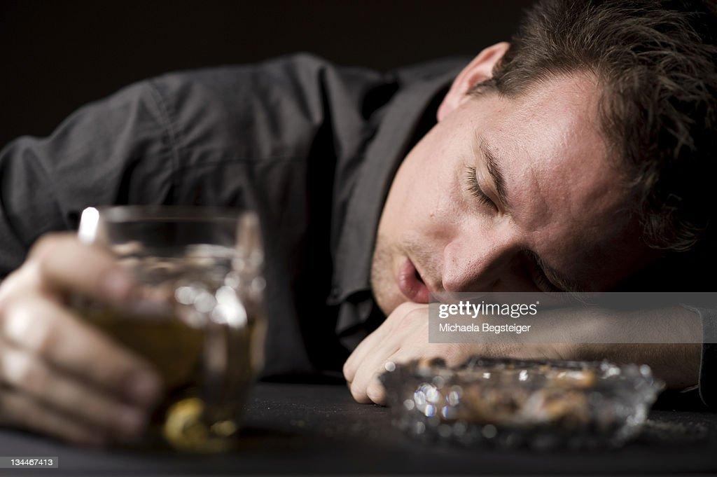 Drunk man with beer