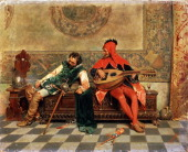 'Drunk Warrior and Court Jester' Italian painting of 19th century Tomba Casimiro Found in the collection of the M Kroshitsky Art Museum Sevastopol