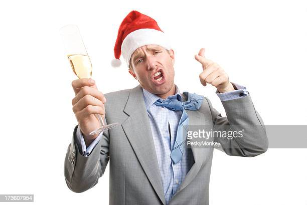 Drunken Businessman Toasts the Camera with Champagne White Background