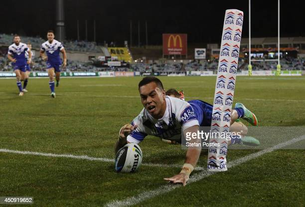Drury Low of the Bulldogs scores a try during the round 15 NRL match between the Canberra Raiders and the CanterburyBankstown Bulldogs at GIO Stadium...