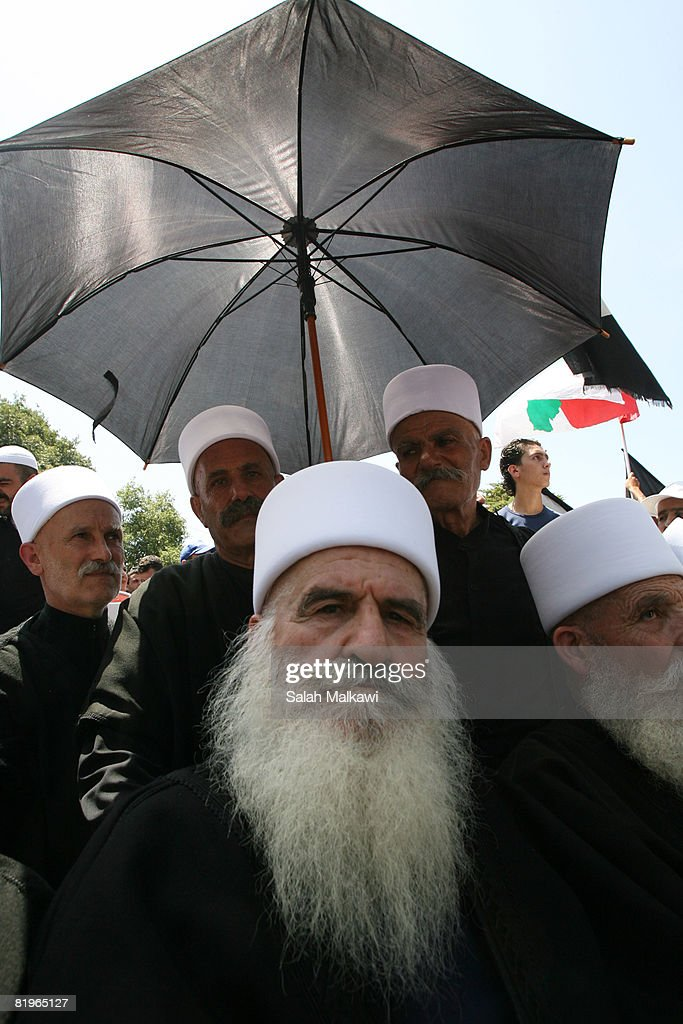 Druze clerics attend a special ceremony celebrating the freedom of Samir Qantar a freed Lebanese fighter from Israelas part of the agreement between...