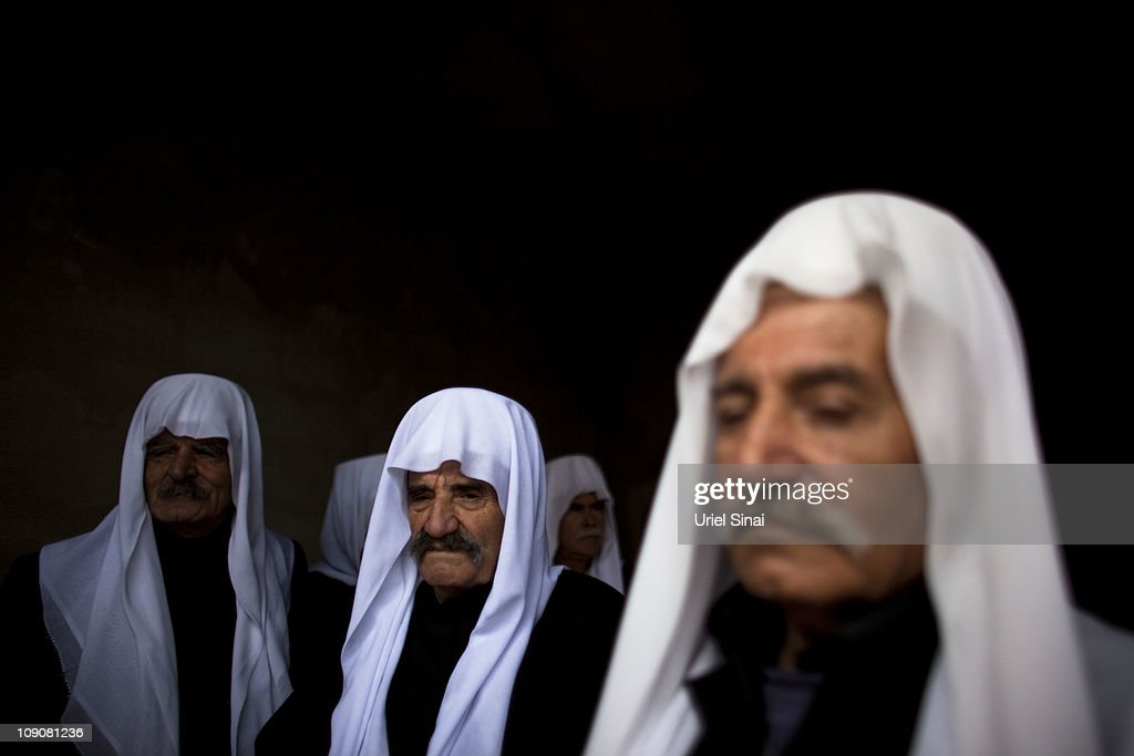 Druze men during a rally at the village of Majdel Shams near the border between Israel and Syria on February 14 2011 in Golan Heights The annual...