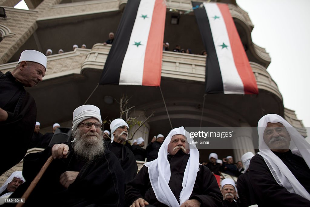 Druze men take part in a rally in the village of Majdel Shams near the border between Israel and Syria on February 14 2012 in Golan Heights Hundreds...