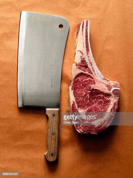 Dry Aged Steak and Meat Cleaver