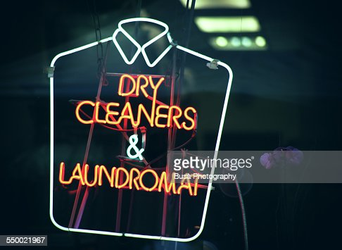 Dry cleaners and laundromat neon sign