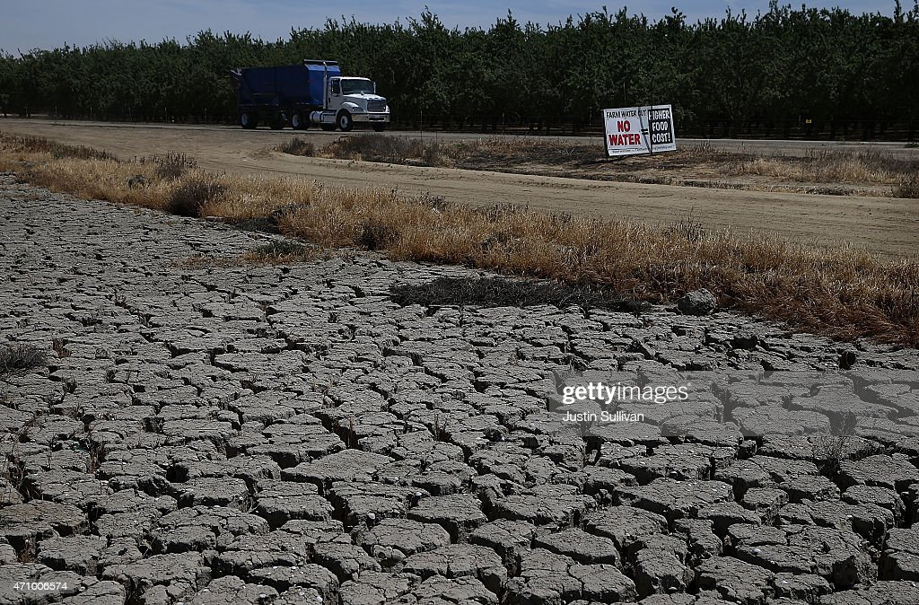 Dry cracked earth is visible near an almond orchard on April 24 2015 in Firebaugh California As California enters its fourth year of severe drought...