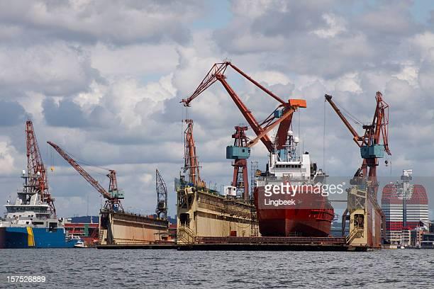 Dry dock in Gothenburg industrial harbour