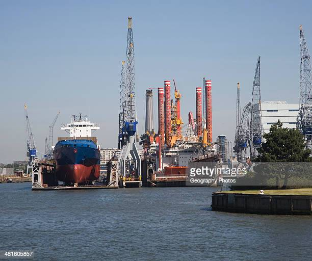Dry dock shipyard Port of Rotterdam Netherlands