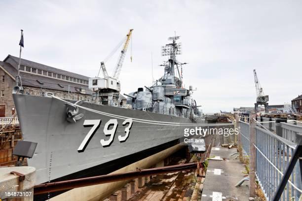 Dry Docked Navy Warship