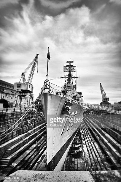 Dry Docked Navy Warship USS Cassin Young