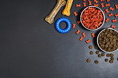 Dry dog pet food in bowl and accessories on blach chalkboard background top view. Pet feeding concept backgrounds with copy space. Photograph taken from above.