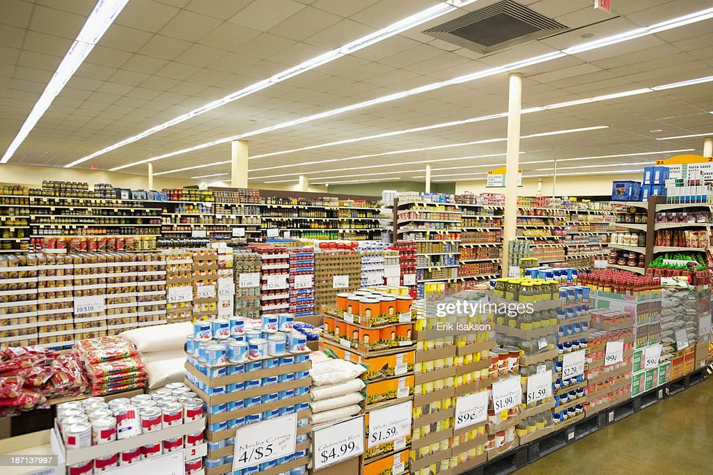 Dry goods section of grocery store : Stock Photo