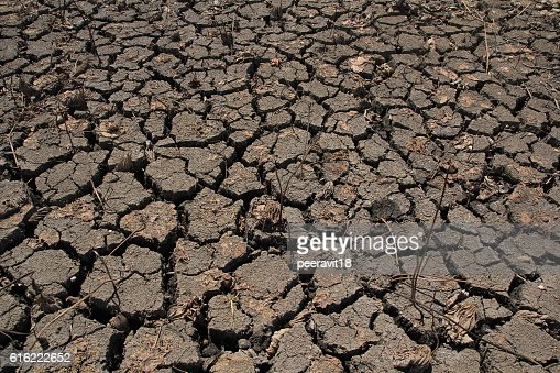 Dry Ground Texture, Drought, the ground cracks, no hot water : Stock Photo