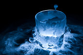 Dry ice sublimation from drinking glass