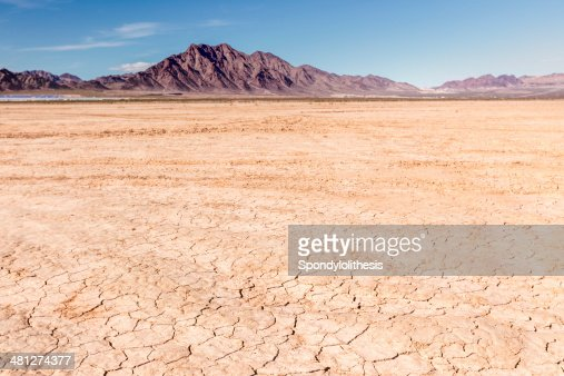 Dry lake bed in desert : Stock Photo