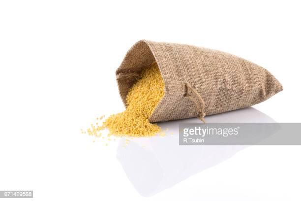 Dry millet in sack