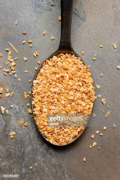 Dry Minced Garlic in Spoon