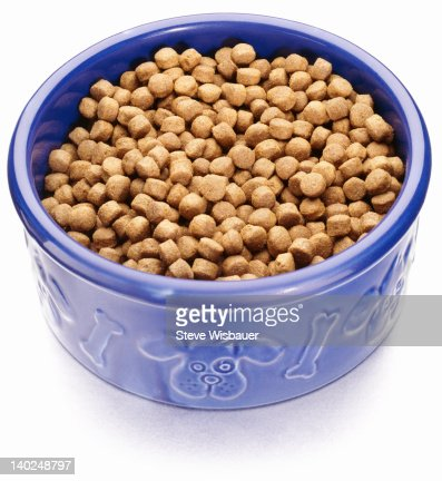 Dry pet food in a bowl with a dog theme : Stock Photo