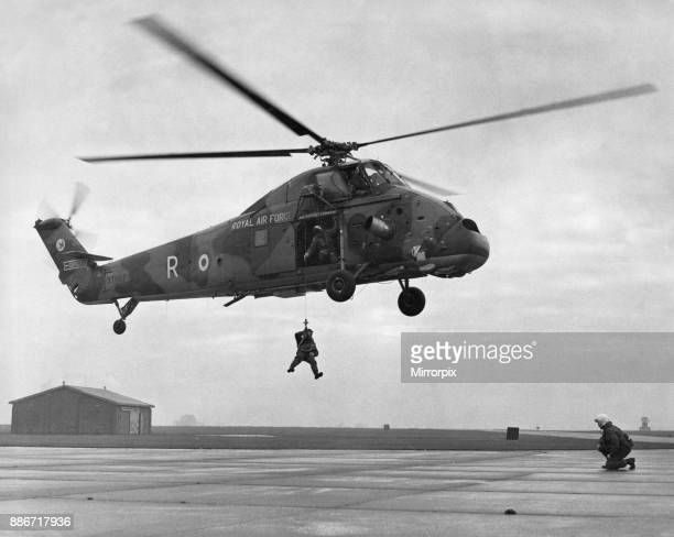 Dry winching drill A Westland Wessex HC2 helicopter of 75 Squadron which is standing in for the two grounded Westlland Whirlwind helicopters of 202...