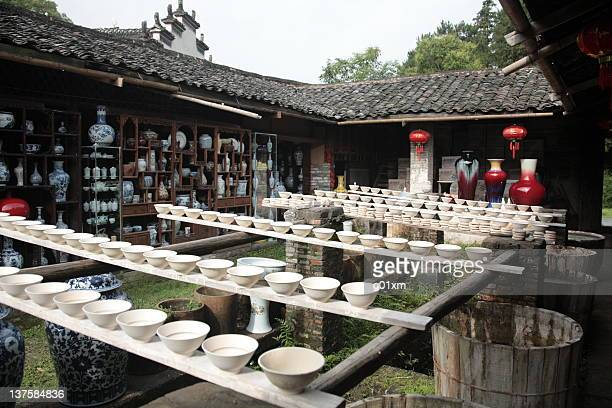 Drying porcelain blanks at Porcelain Workshop in Jingdezhen (景德镇), China