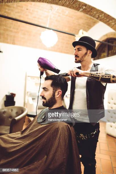 drying the hair at the barber shop