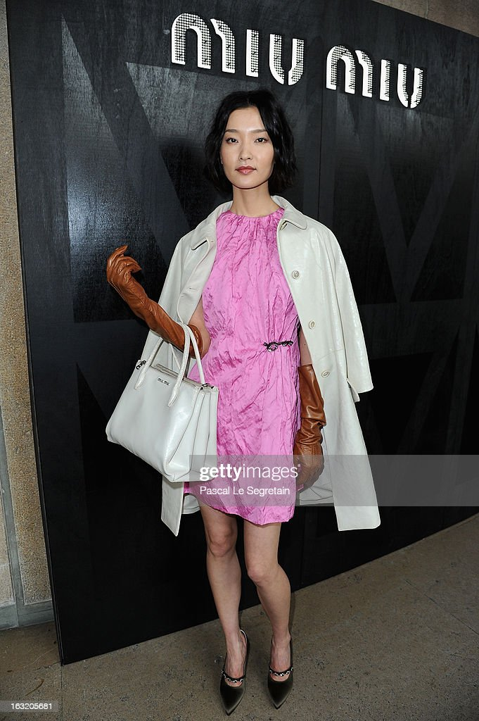 Du Juan attends the Miu Miu Fall/Winter 2013 Ready-to-Wear show as part of Paris Fashion Week on March 6, 2013 in Paris, France.