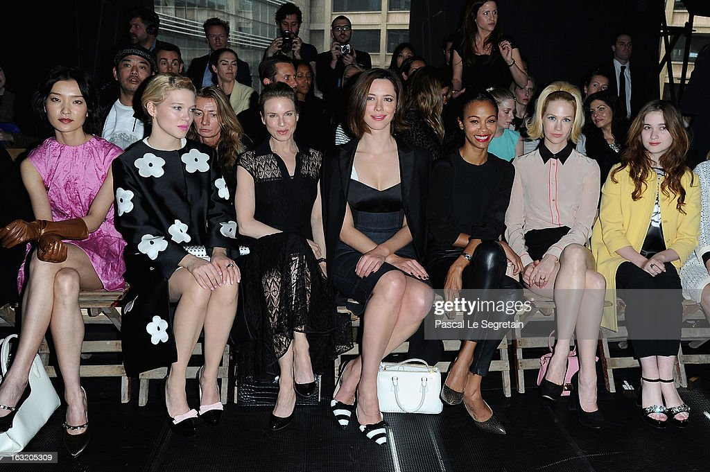 <a gi-track='captionPersonalityLinkClicked' href=/galleries/search?phrase=Du+Juan&family=editorial&specificpeople=3972788 ng-click='$event.stopPropagation()'>Du Juan</a>, Lea Seydoux, Renee Zellweger, <a gi-track='captionPersonalityLinkClicked' href=/galleries/search?phrase=Rebecca+Hall&family=editorial&specificpeople=778176 ng-click='$event.stopPropagation()'>Rebecca Hall</a>, <a gi-track='captionPersonalityLinkClicked' href=/galleries/search?phrase=Zoe+Saldana&family=editorial&specificpeople=542691 ng-click='$event.stopPropagation()'>Zoe Saldana</a>, <a gi-track='captionPersonalityLinkClicked' href=/galleries/search?phrase=January+Jones&family=editorial&specificpeople=212949 ng-click='$event.stopPropagation()'>January Jones</a> and <a gi-track='captionPersonalityLinkClicked' href=/galleries/search?phrase=Alice+Englert&family=editorial&specificpeople=616562 ng-click='$event.stopPropagation()'>Alice Englert</a> attend the Miu Miu Fall/Winter 2013 Ready-to-Wear show as part of Paris Fashion Week on March 6, 2013 in Paris, France.