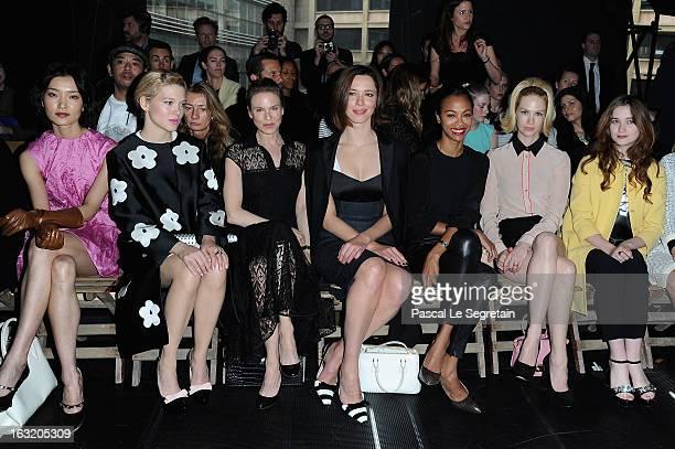Du Juan Lea Seydoux Renee Zellweger Rebecca Hall Zoe Saldana January Jones and Alice Englert attend the Miu Miu Fall/Winter 2013 ReadytoWear show as...