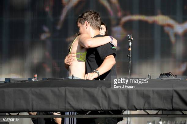 Dua Lipa and Martin Garrix perform on stage at the Barclaycard Presents British Summer Time Festival in Hyde Park on July 2 2017 in London England