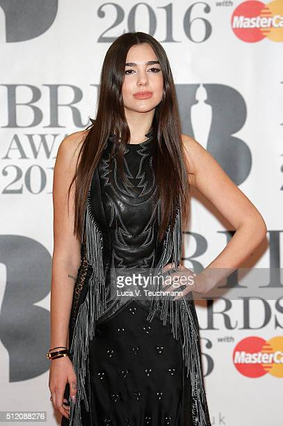 Dua Lipa attends the BRIT Awards 2016 at The O2 Arena on February 24 2016 in London England