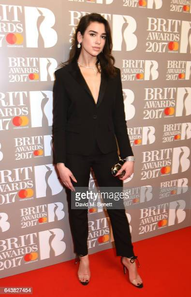 ONLY Dua Lipa attends The BRIT Awards 2017 at The O2 Arena on February 22 2017 in London England
